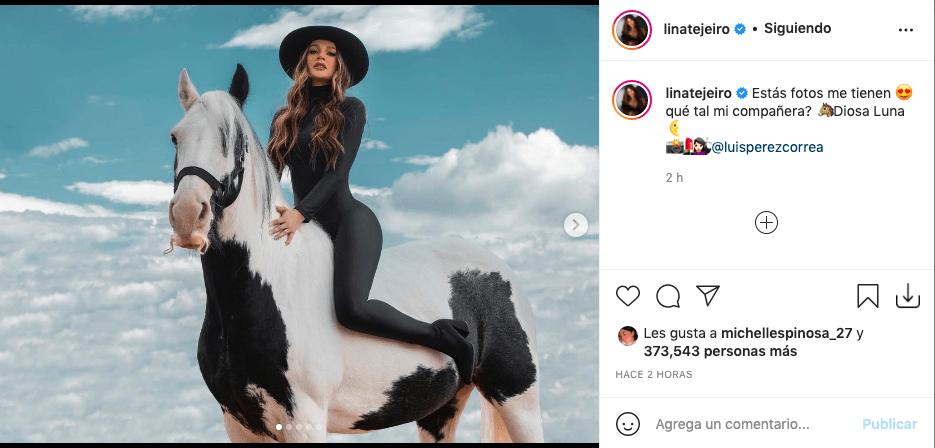 Lina Tejeiro y las impactantes fotos montada sobre una yegua