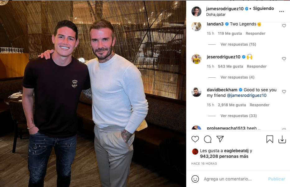 James Rodríguez causa revuelo tras posar junto a David Beckham