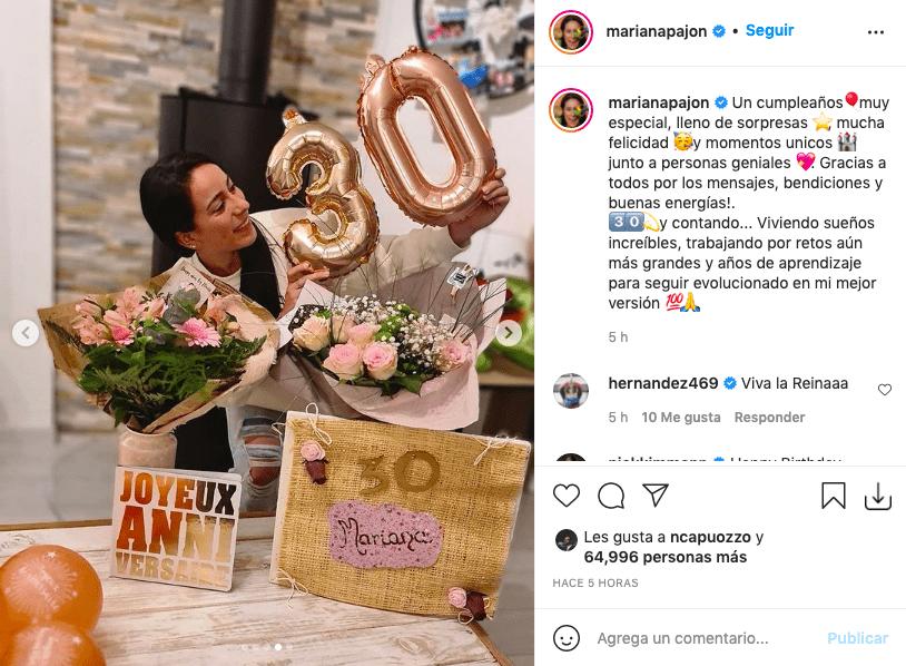 Mariana Pajón cumplió 30 años y así los celebró