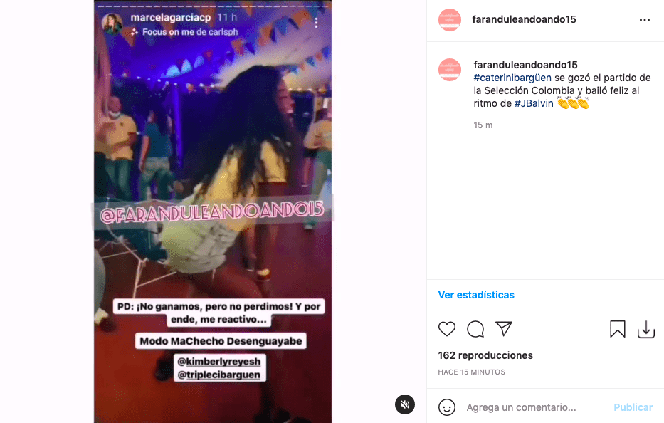 Caterine ibargüen sorprende bailando Blanco de J Balvin