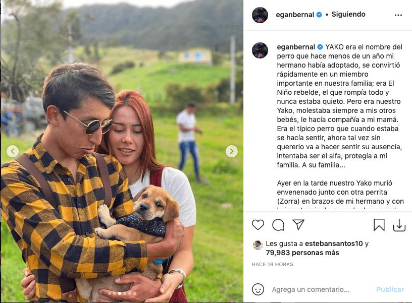 Egan Bernal denuncia envenenamiento de su mascota que indigna a sus fans