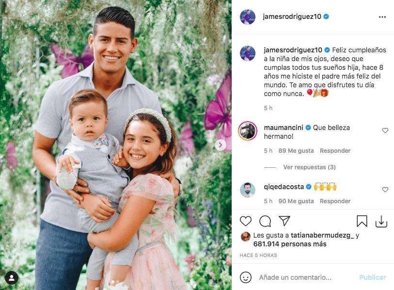 James Rodríguez comparte foto con su hija Salomé