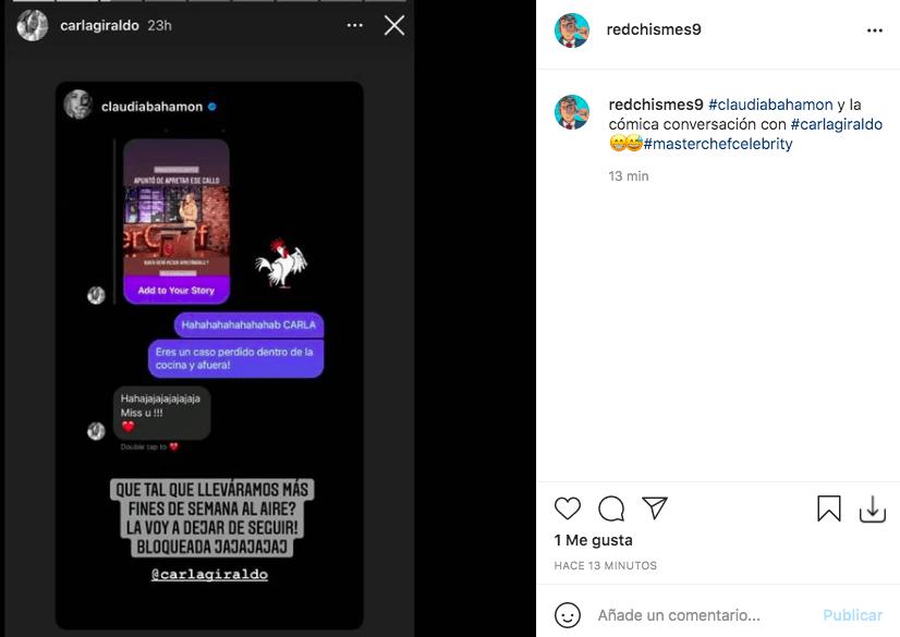 La divertida conversación de Claudia Bahamón con Carla Giraldo