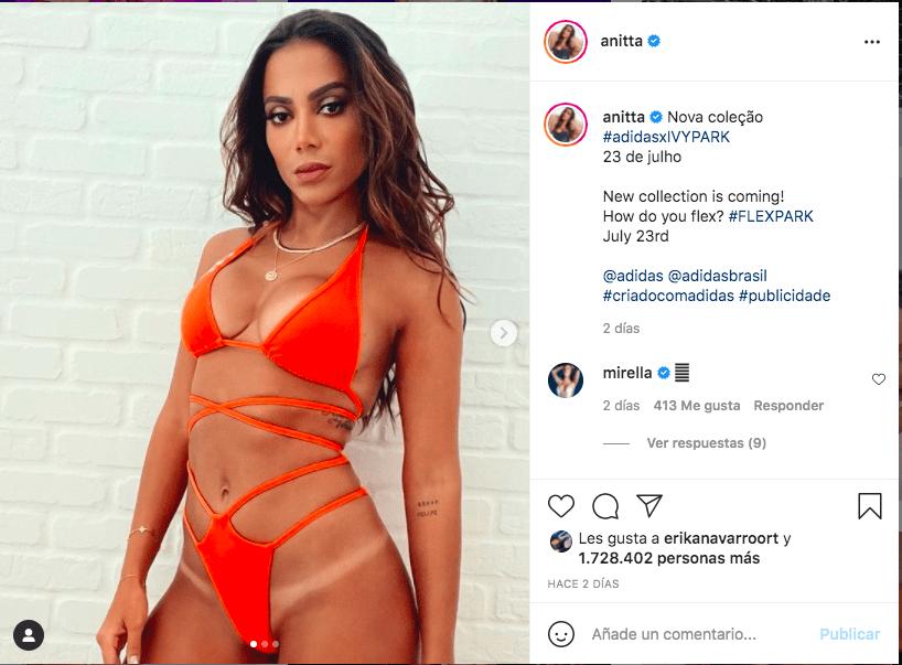 Anitta eleva la temperaura en redes sociales