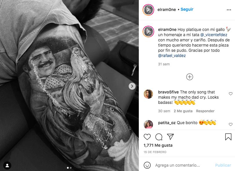 Nietos de Vicente Fernández se tatúan en su nombre/ @elram0ne