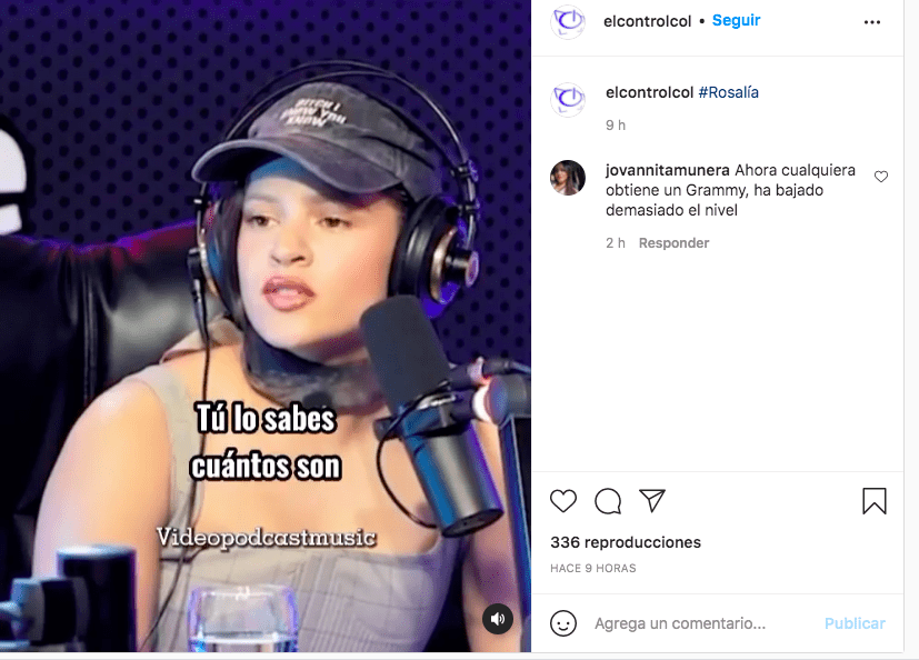 Viralizan video de Rosalía hablando de los Premios Grammy que ha ganado