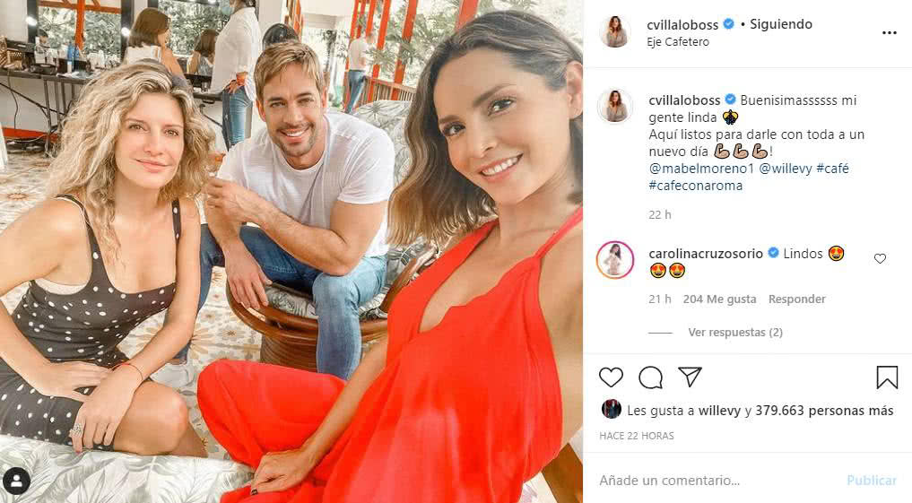 Carmen Villalobos con William Levy y Mabel Moreno