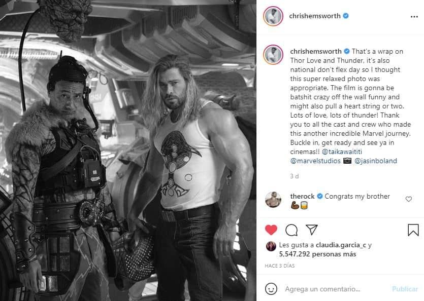 Chris Hemsworth anunció el fin de las grabaciones de Thor: Love & Thunder