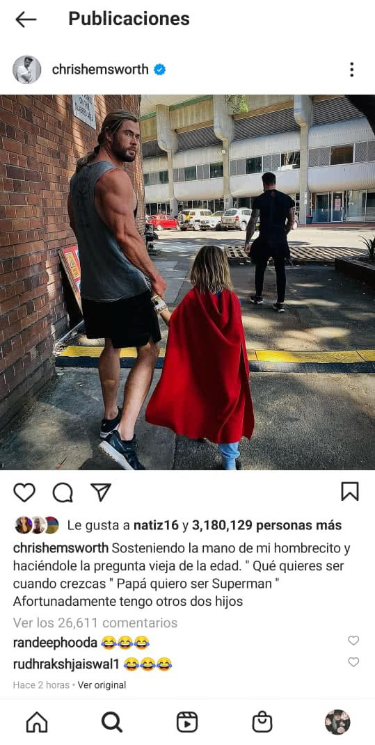 Chris Hemsworth hijo Superman