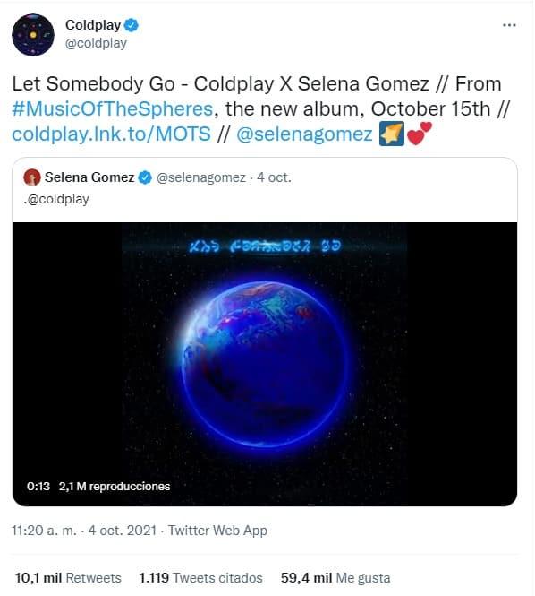 Selena Gomez y Coldplay anuncian colaboración para el nuevo álbum de la agrupación