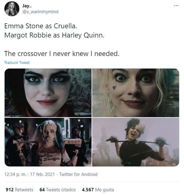 Fanáticos comparan a 'Cruella' de Emma Stone con 'Harley Quinn' de Margot Robbie