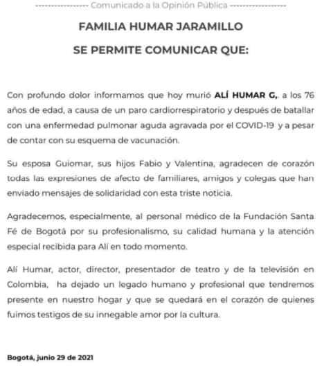 Fallece Alí Humar 2