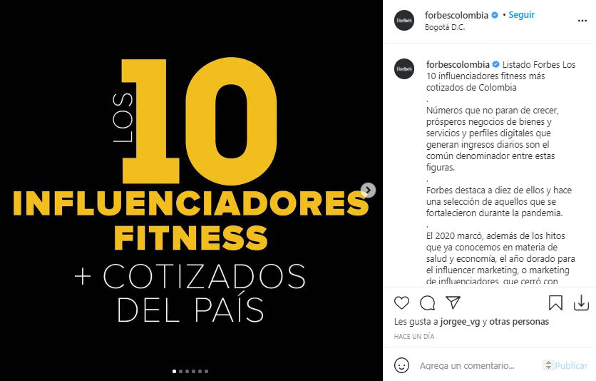 Influenciadoras Fitness Forbes