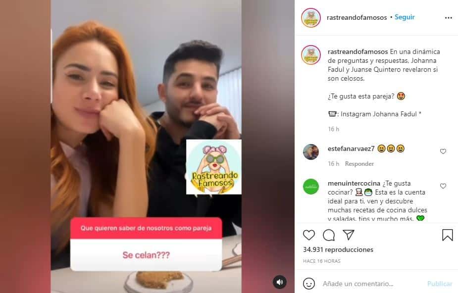 Johanna Fadul y Juanse Quintero revelaron si son celosos en su relación