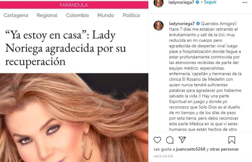 Lady Noriega Sale del hospital 2