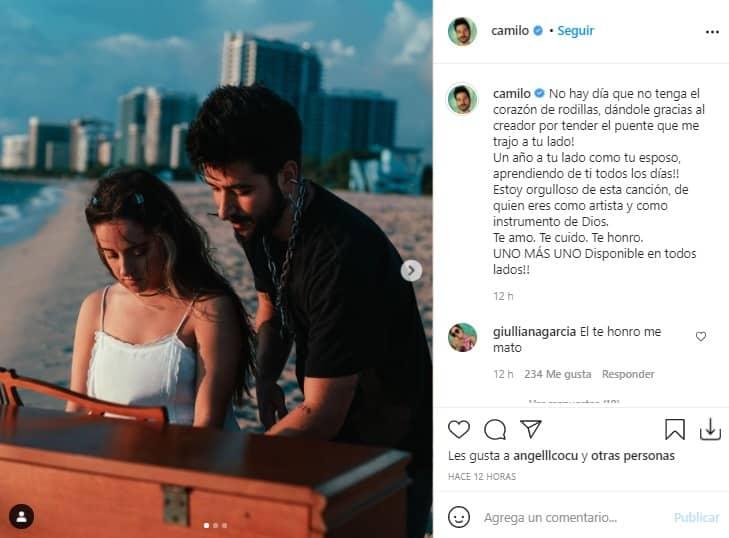 Mensaje Camilo Evaluna Aniversario 1