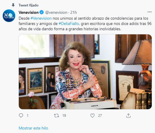 Murió la escritora de telenovelas Delia Fiallo 2
