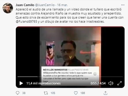 Respuesta Amenaza Alejandro Riaño