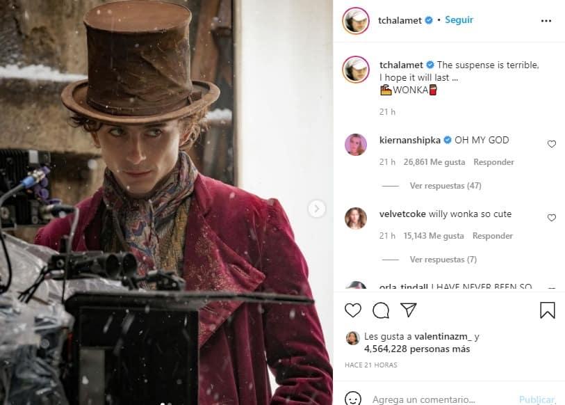 Timothée Chalamet sorprende con primera imagen como Willy Wonka