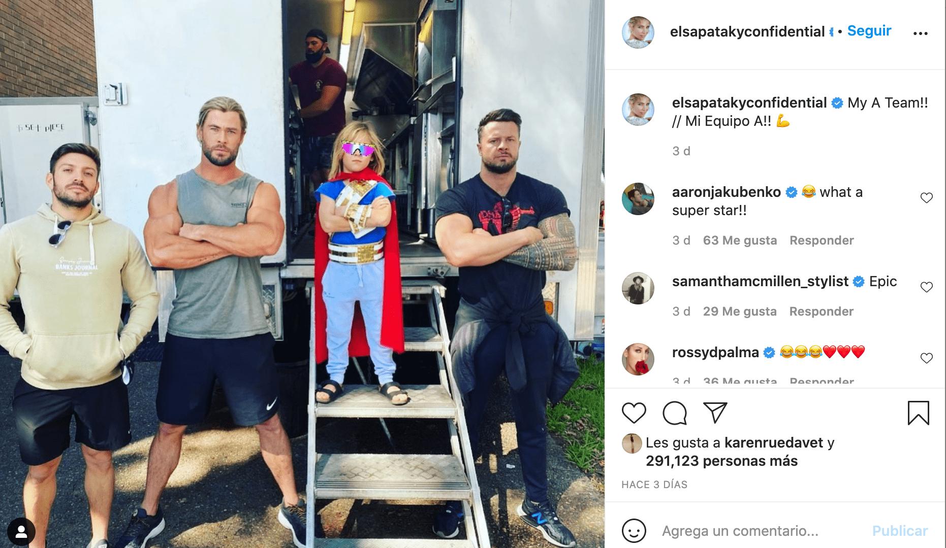 """""""Colado"""", hijo de Chris Hemsworth y Elsa Pataky en el rodaje de Thor"""