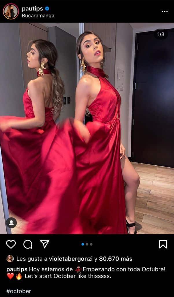 Pautips con vestido rojo