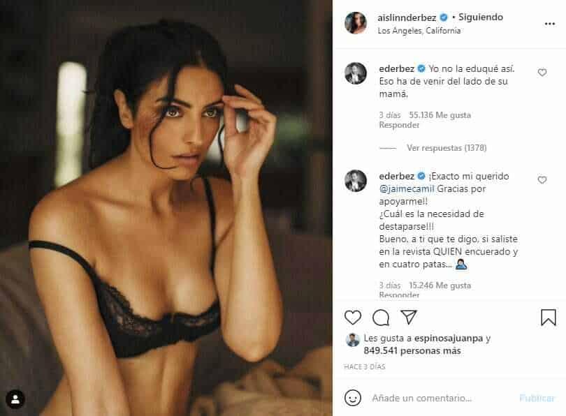 """Aislinn Derbez comparte sugerentes fotos en lencería y Eugenio Derbez la """"reprende"""""""