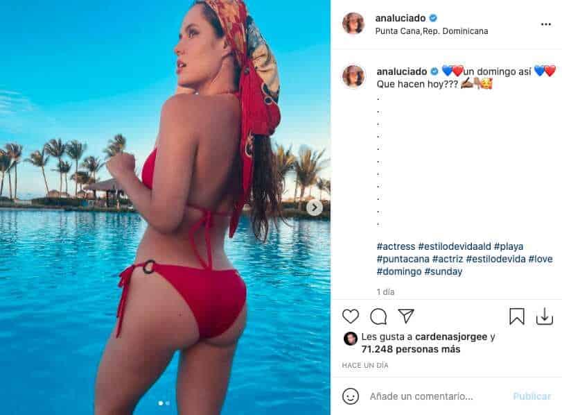Ana Lucía Domínguez posa de espaldas y deja ver atractivo lunar cerca a sus caderas