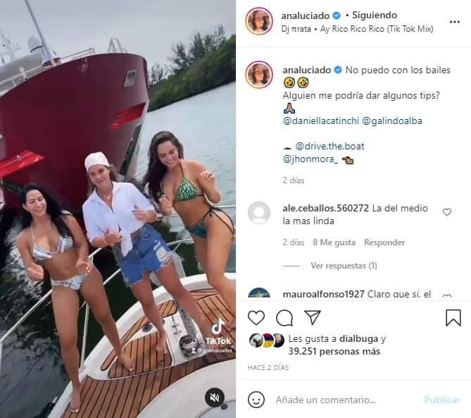 Ana Lucía Domínguez hizo popular tiktok sobre un yate y en bikini