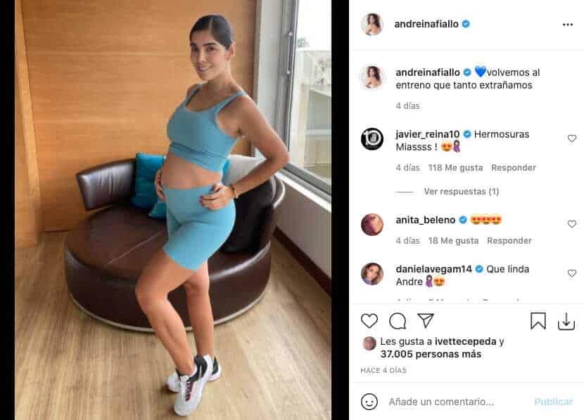 Andreina Fiallo mostró cuánto ha crecido su barriguita en ropa deportiva