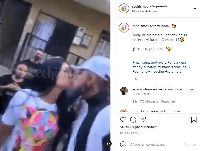 Andy Rivera besa a seguidora en Medellín
