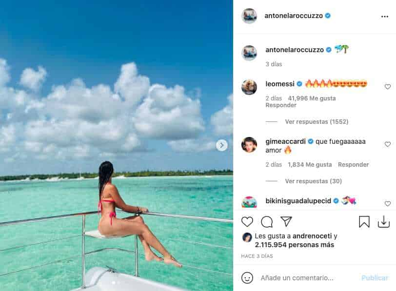 Antonela Roccuzzo posó en lujoso yate y deleitó con su figura en diminuto bikini