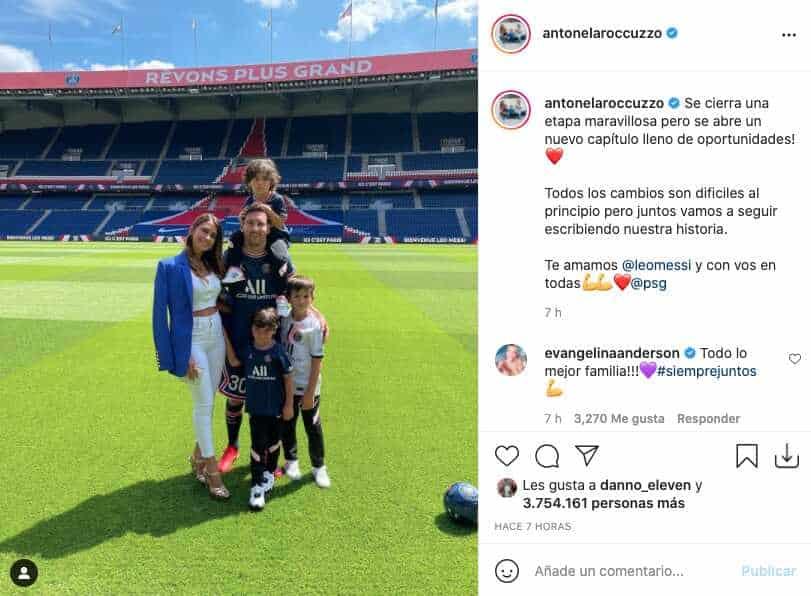 Antonela Roccuzzo compartió tierna foto con Messi y sus hijos desde el estadio del PSG