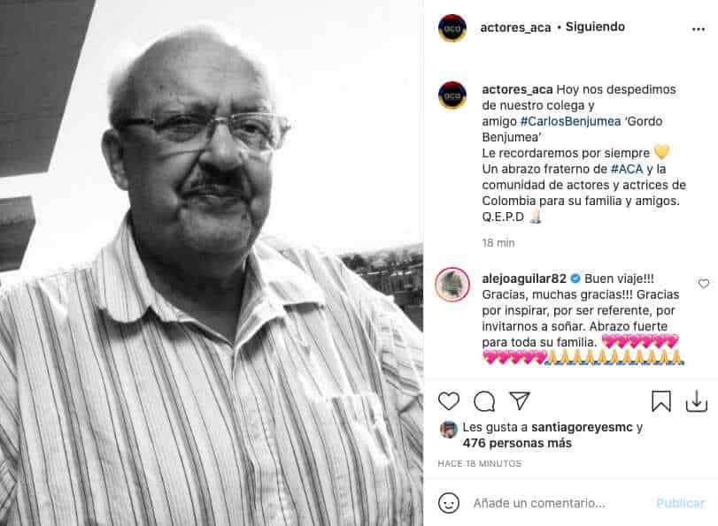 La Asociación Colombiana de Actores reacciona tras la partida de El Gordo Benjumea