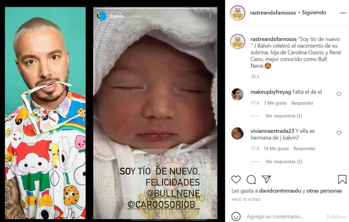 J Balvin anunció el nacimiento de su sobrina.