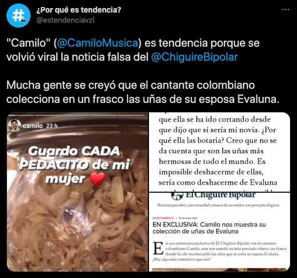 Camilo se volvió tendencia por noticia falsa sobre supuesta colección de uñas de Evaluna