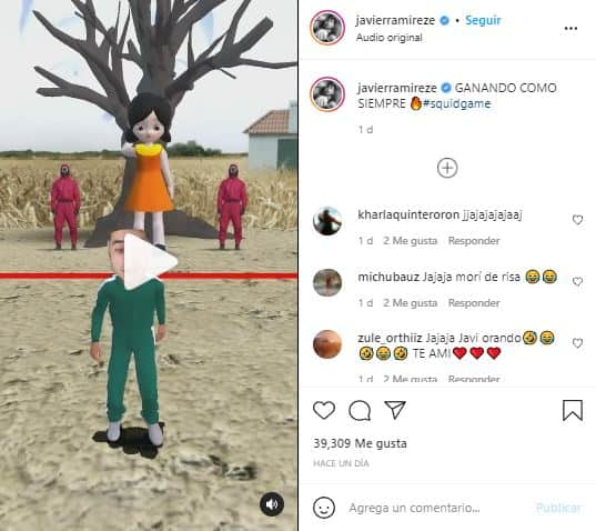 """Javier Ramírez divirtió con filtro de """"El juego del calamar"""""""