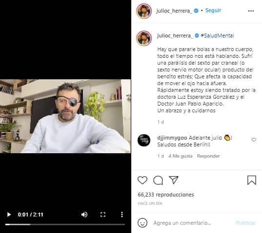 Julio César Herrera contó que sufrió una parálisis ocular