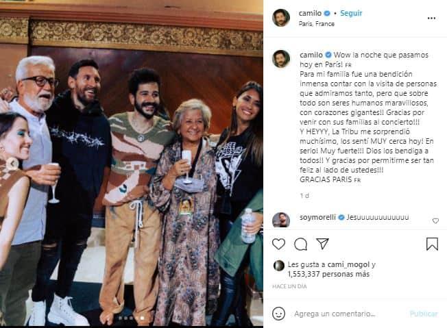 Camilo dio un concierto en Paris, y se encontró con Lionel Messi