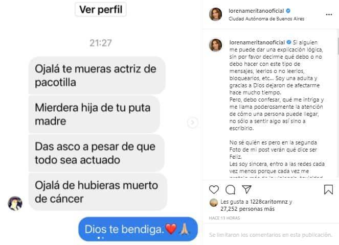 Lorena Meritano denunció agresiones a través de sus redes sociales