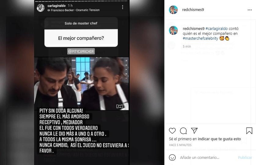 Carla Giraldo compañero de MasterChef Celebrity