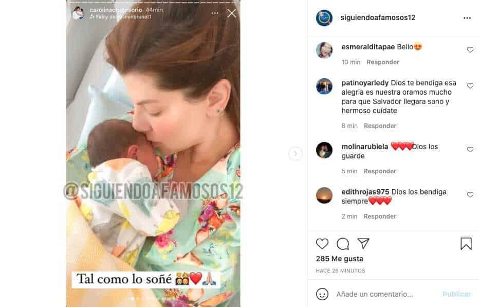 Carolina Cruz comparte primera foto junto a Salvador