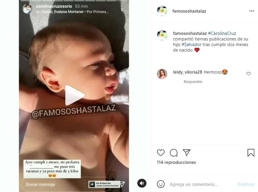 carolina cruz celebra los dos meses de su bebe salvador