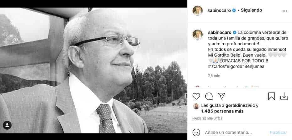 Así reaccionó Carolina Sabino ante la partida del Gordo Benjumea