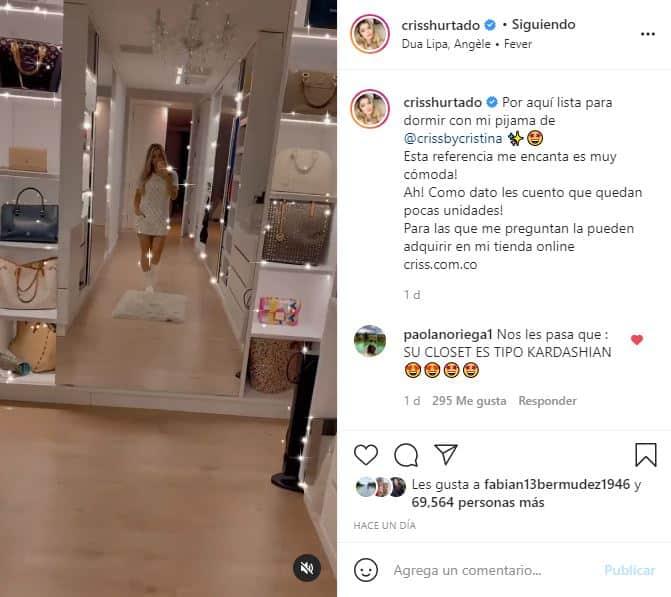 Cristina Hurtado sorprendió al mostrar su inmenso y lujoso closet