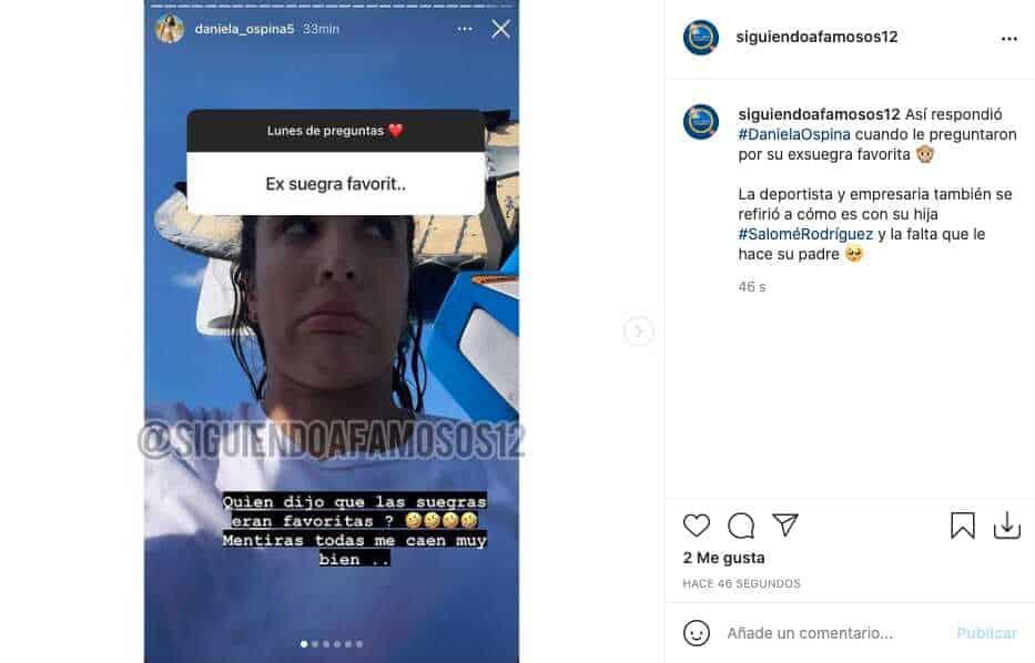 Así reaccionó Daniela Ospina cuando le preguntaron por sus exsuegras