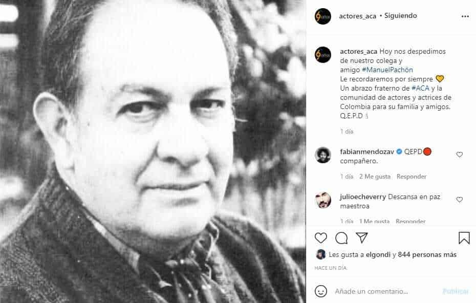 Falleció el actor Manuel Pachón a sus 84 años