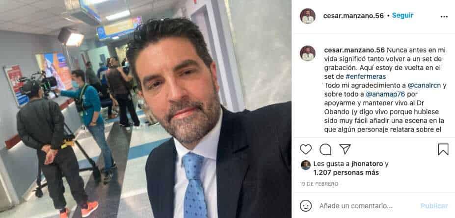 César Manzano retomó grabaciones en Enfermeras