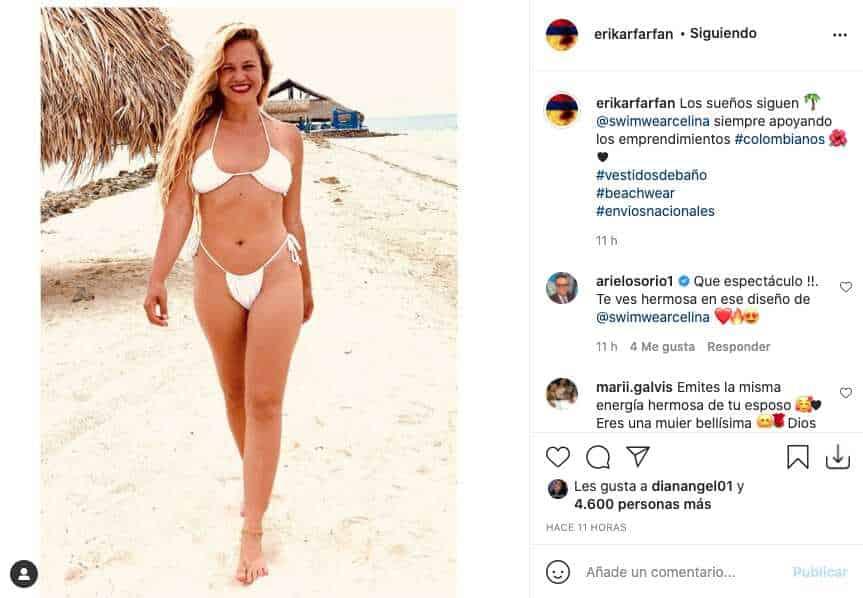Esposa de Gregorio Pernía luce su cuerpo en ajustado bikini blanco