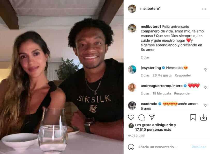 Copa América 2021: así conmemoró la esposa de Juan Guillermo Cuadrado su aniversario