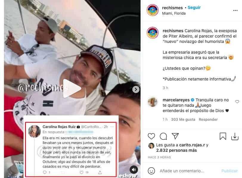 Carolina Rojas, ex de Piter Albeiro, reveló que su matrimonio terminó por infidelidad